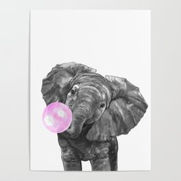 Bubble Gum Elephant Black and White Poster