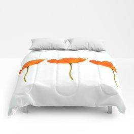 Three Orange Poppy Flowers White Background #decor #society6 #buyart Comforters