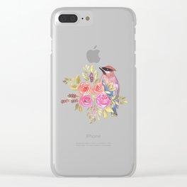 cedar waxwing with pink and orange roses and leaves Clear iPhone Case