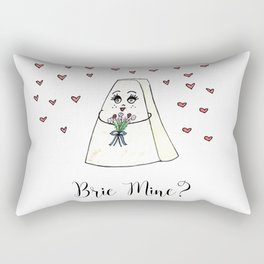 Brie Mine, Valentine, Foodie Art, Cheese, Puns, Love, V-Day, Valentines Gift, Love Art. Rectangular Pillow