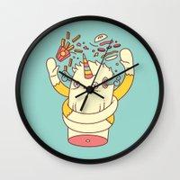 junk food Wall Clocks featuring junk food kills by failuretalent