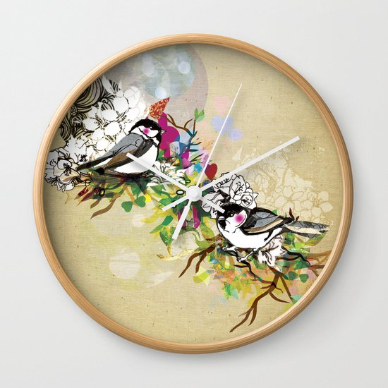 Two Birds Wall Clock