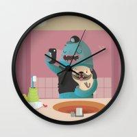 bathroom Wall Clocks featuring Bathroom selfie by Maria Jose Da Luz