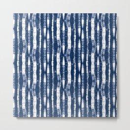 Shibori Stripes Indigo Blue Metal Print