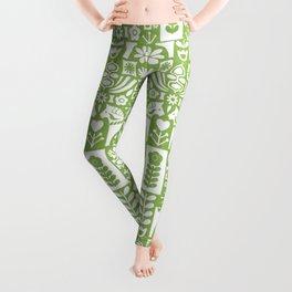 Swedish Folk Art - Greenery Leggings