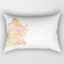 Typographic Brooklyn - Orange Watercolor map art Rectangular Pillow