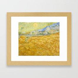 "Vincent van Gogh ""Wheat Field behind Saint Paul Hospital with a Reaper"" Framed Art Print"