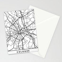 COLOGNE GERMANY BLACK CITY STREET MAP ART Stationery Cards