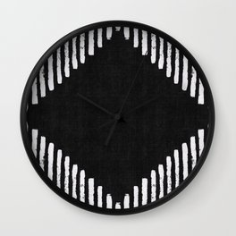 Diamond Stripe Geometric Block Print in Black and White Wall Clock