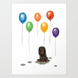 Toy Spaniel with balloons Art Print