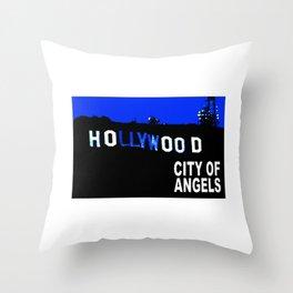 Hollywood Sign at Night Throw Pillow