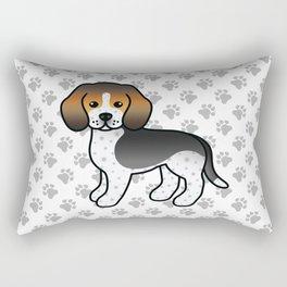 Cute Blue Ticked Beagle Dog Cartoon Illustration Rectangular Pillow
