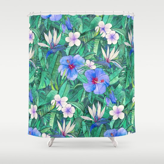White Bird Of Paradise Blue Hibiscus Tropical Garden Shower Curtain By Micklyn Society6