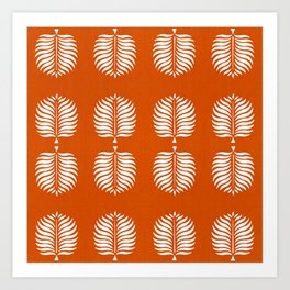 TROPICAL PALMS . ORANGE + WHITE Art Print