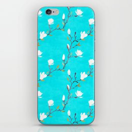 White magnolia with turquoise background iPhone Skin