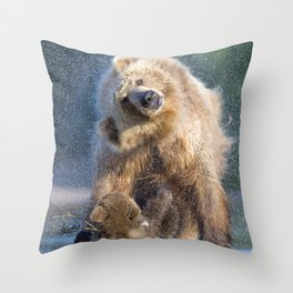Marvelous Brown Bear Mother With Two Cute Little Cubs Shaking Off Water Ultra HD Throw Pillow