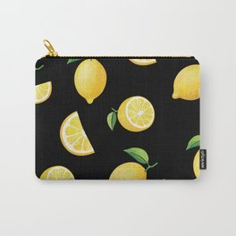 Lemons on Black Carry-All Pouch
