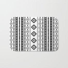 Aztec Black on White Mixed Motifs Pattern Bath Mat