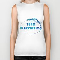 playstation Biker Tanks featuring Team Playstation by Bradley Bailey