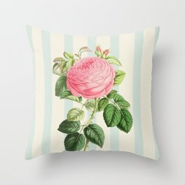 Pink Rose On Blue Stripes Throw Pillow