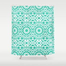 Vintage style bohemian with abstract tribal flowers Shower Curtain