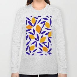 Blue and yellow Lemon Summery Pattern Long Sleeve T-shirt