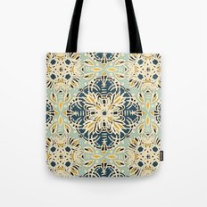 Protea Pattern in Deep Teal, Cream, Sage Green & Yellow Ochre  Tote Bag
