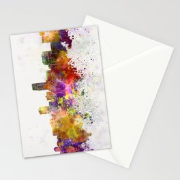 Omaha skyline in watercolor background Stationery Cards