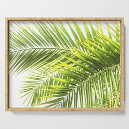 Palm leaves tropical illustration Serving Tray