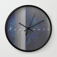 happiness Wall Clocks featuring Happiness by Jane Lacey Smith