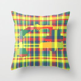 CAMOUFLAGED DIGGER IN FOUR-COLOR PLAID Throw Pillow