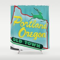 portland Shower Curtains featuring Portland by Casey Baggz