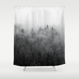 Black and White Mist Ombre Shower Curtain