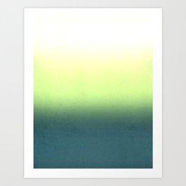 green , yellow , white , Ombre Art Print