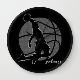 Basketball Player (monochrome) Wall Clock