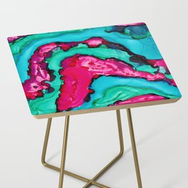 Magenta Geode Side Table