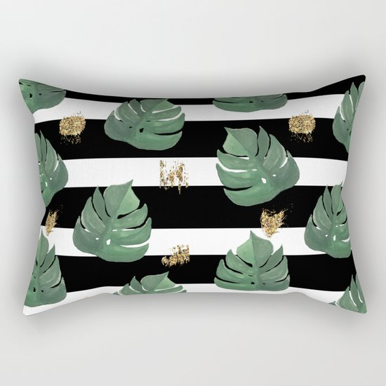 Seamless tropical leaves pattern on stripes background. Greens leaves of exotic monstera plant. Retr Rectangular Pillow