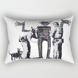 Banksy Boy and Dog in a Stop and Search Basquiat Homage Artwork, Capitalism Criticism, Artwork for P Rectangular Pillow