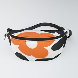 Large Orange and Black Retro Flowers White Background #decor #society6 #buyart Fanny Pack