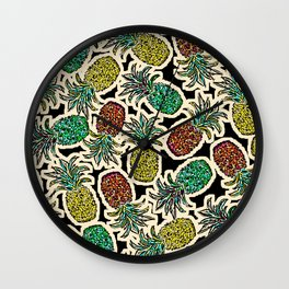 Pineapple Pandemonium Two - Retro Tones Wall Clock