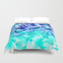 modern boho blue turquoise watercolor mermaid tie dye pattern Duvet Cover