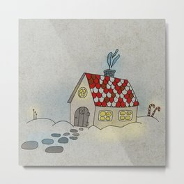 Winter Evening in Tiny Gingerbread House Metal Print