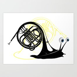 Just moved.  (French Horn) Art Print
