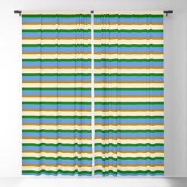 Eye-catching Beige, Green, Cornflower Blue & Dark Goldenrod Lined/Striped Pattern Blackout Curtain