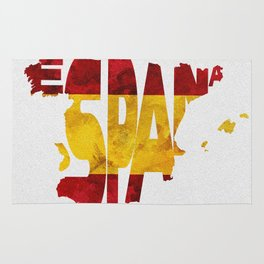 Espana / Spain Typographic Flag / Map Art Rug