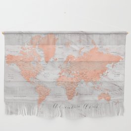 """Adventure awaits world map in rose gold and marble, """"Janine"""" Wall Hanging"""
