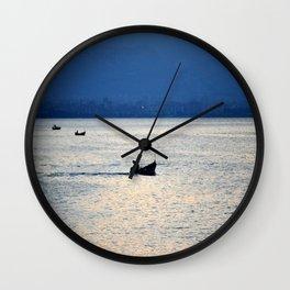 sea with boats Wall Clock
