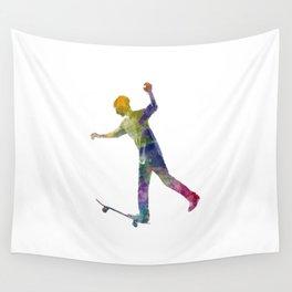 Man skateboard 06 in watercolor Wall Tapestry