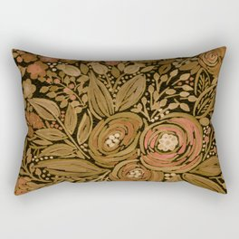 Watercolor .   Black brown floral pattern . Rectangular Pillow