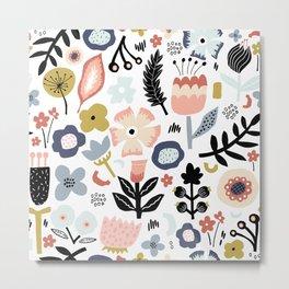 Naive Floral Scandinavian Design Metal Print